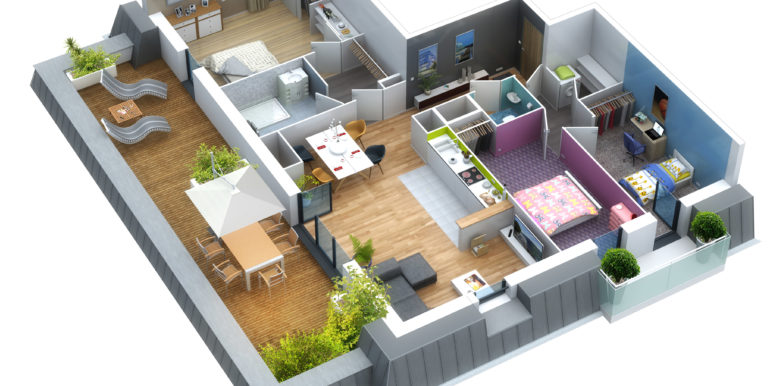 Plan 3D logement 33